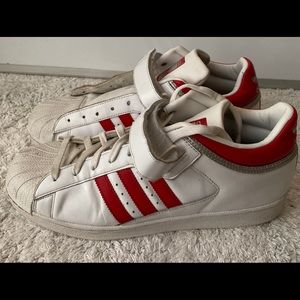 Adidas Pro Shell, White/ Scarlet Red sneakers 12